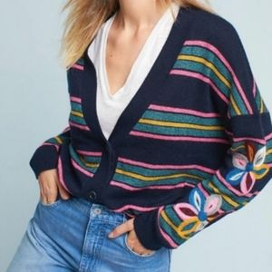 Anthropology Moth Posy Striped Cardigan Sweater